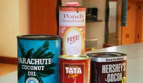 Old tins of famous brands