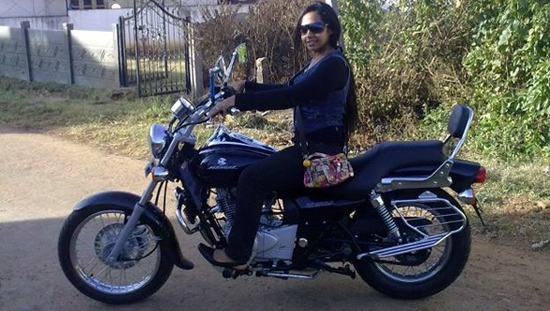 Biker chicks - Shruthi riding a bike