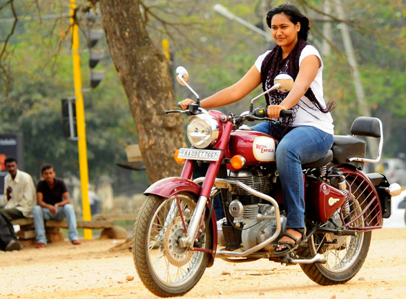 Biker chicks - Eeshaani riding bullet