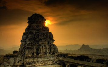 Memorable sunset at Hampi