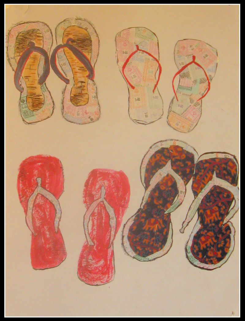 Ticket collage about chappals