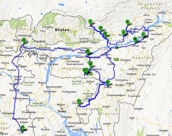 Plotting my route across Seven Sister States on Google Maps