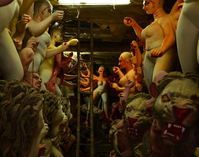 Kumartuli - Crammed workspace of sculptors