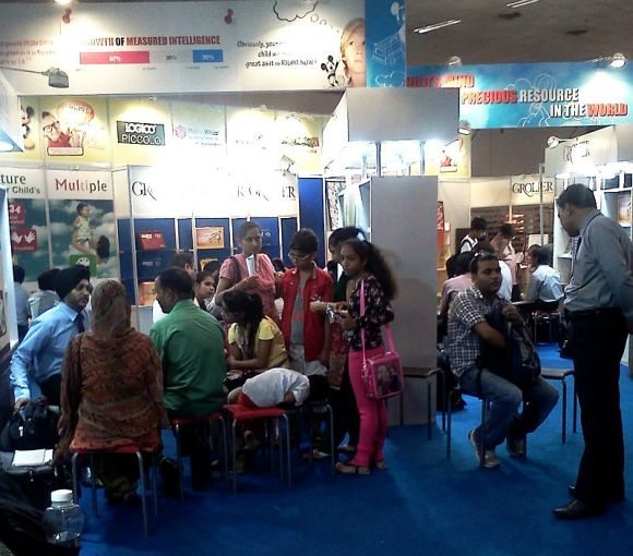 Kids and Parents at Delhi Book Fair
