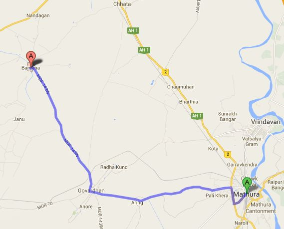 Mathura-Barsana route | Google Maps