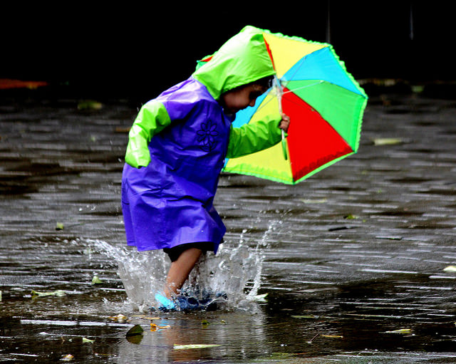 Rain Pictures -  Kid Playing