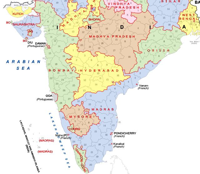 Old States of India before 1956   Source: Wikipedia
