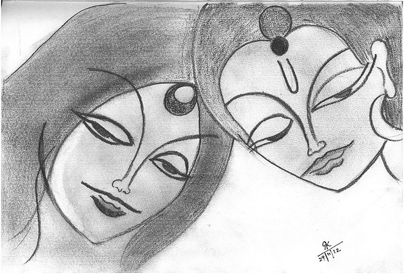 Contemporary indian art sketch