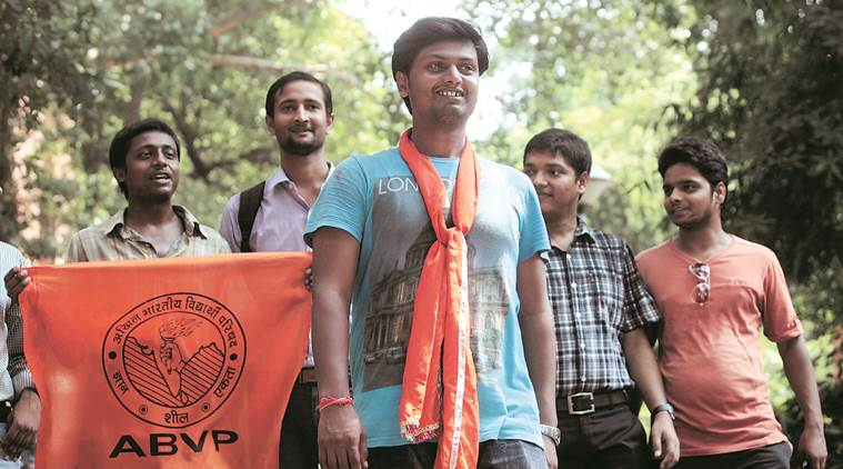 ABVP candidates affter the JNUSU elections Resulton Sunday. Express photo by Amit Mehra . 13 September 2015