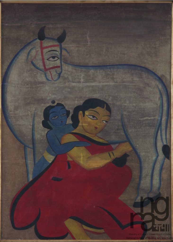Yashoda and Krishna painting by Jamini Roy
