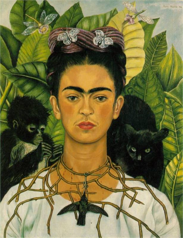 Frida-Kahlo-self-portrait-with-necklace-of-thorns