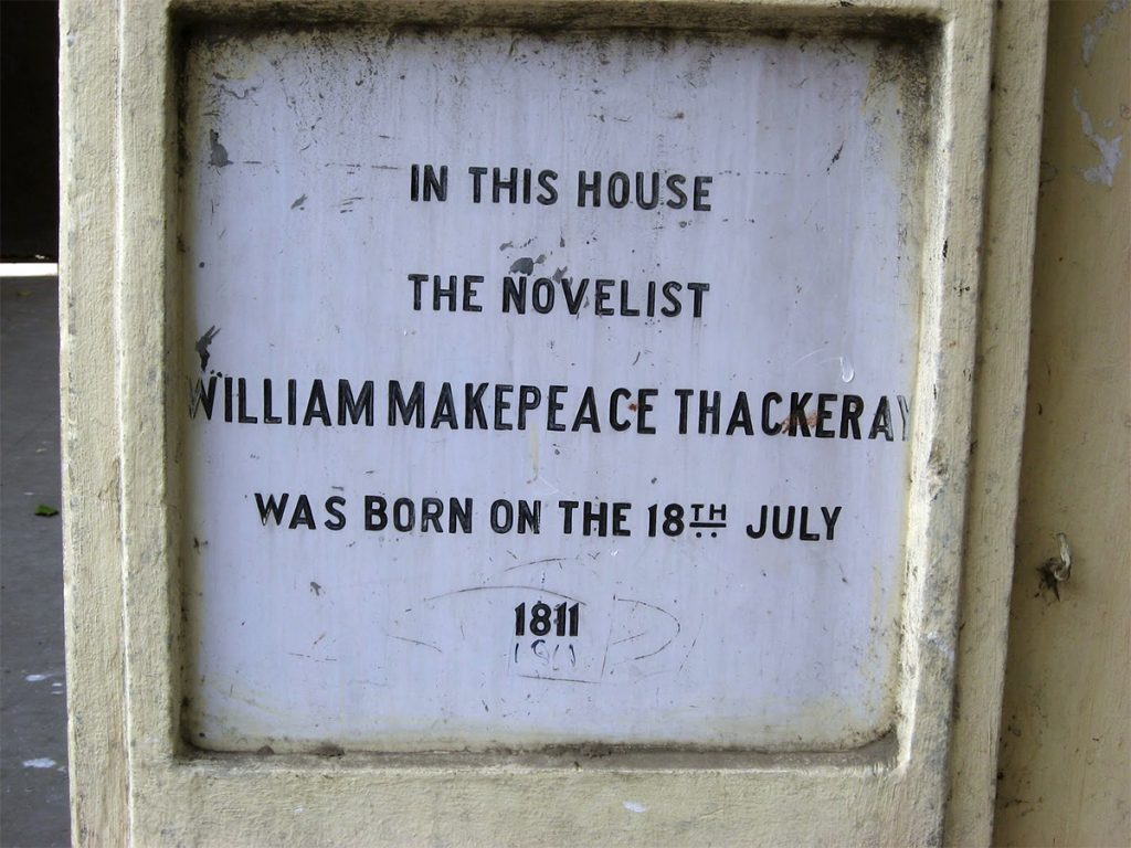 Streets-of-Kolkata-The-stone-remembrance-near-William-Makepeace-Thackeray's-house-in-Free-School-Street