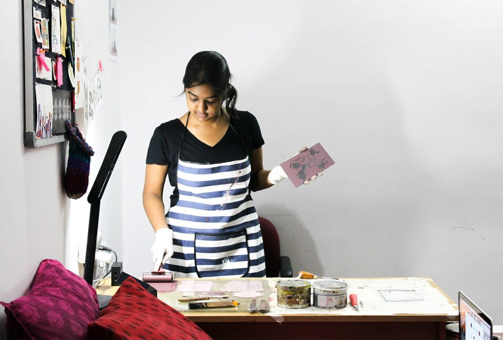 Lino Prints block in making by Sneha Suresh