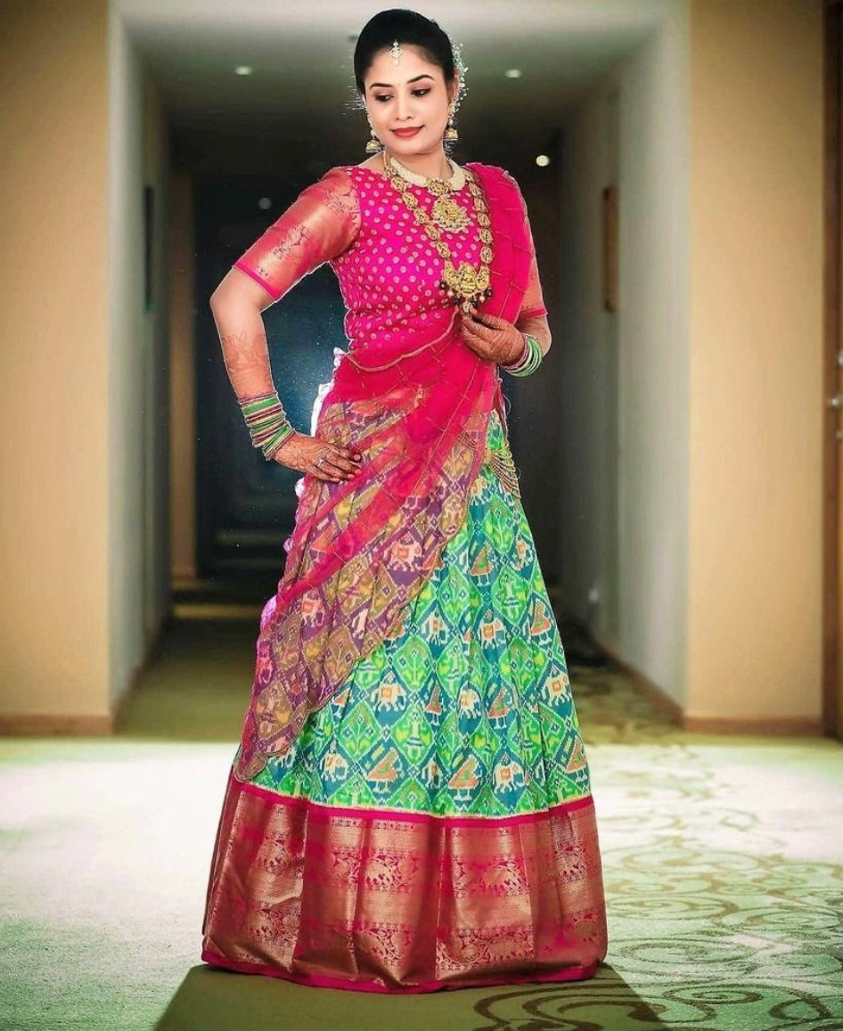 Lehenga-Designs-to-Wear-to-a-Traditional-Event-Half-saree-Lehenga