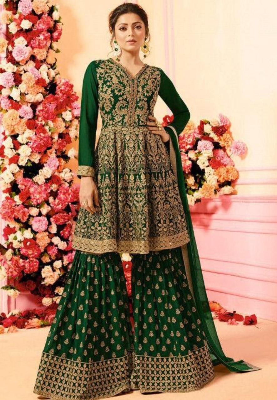 Lehenga-Designs-to-Wear-to-a-Traditional-Event-Sharara-Cut-Lehenga