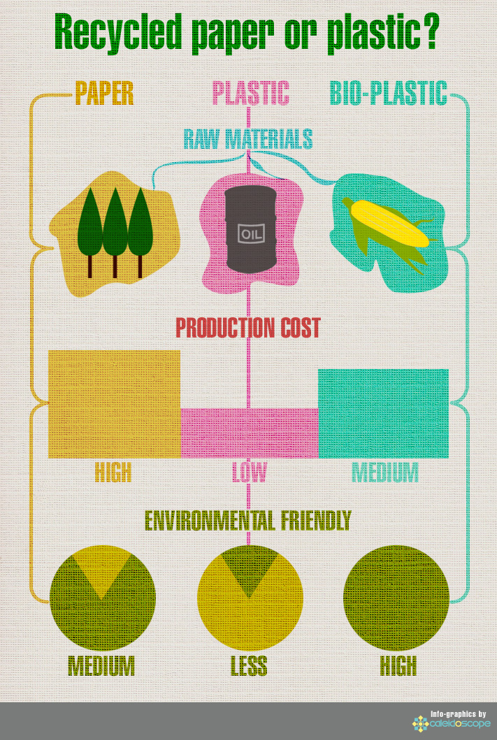 Recycled Paper Or Plastic Infographic